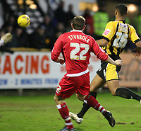 Photo: Pete Lorence.<br />Boston United v Swindon Town. Coca Cola League 2. 20/01/2007.<br />Blair Sturrock slams the ball into the back of the net.