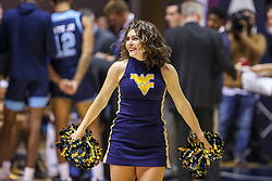 Dec 1, 2019; Morgantown, WV, USA; A West Virginia Mountaineers dancer performs during the first half against the Rhode Island Rams at WVU Coliseum. Mandatory Credit: Ben Queen-USA TODAY Sports