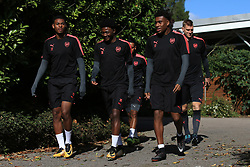13 September 2017 -  UEFA Europa League (Group H) - Arsenal Training - Jeff Reine-Adelaide, Ainsley Maitland-Niles, Alex Iwobi and Per Mertesacker of Arsenal - Photo: Marc Atkins/Offside