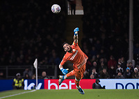 Football - 2019 / 2020 Sky Bet (EFL) Championship - Fulham vs. Leeds United<br /> <br /> Francisco Casilla (Leeds United) watches the ball after his flying finger tip save to keep his team in the game at Craven Cottage<br /> <br /> COLORSPORT/DANIEL BEARHAM