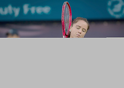 February 21, 2019 - Dubai, ARAB EMIRATES - Viktoria Kuzmova of Slovakia in action during her quarter-final match at the 2019 Dubai Duty Free Tennis Championships WTA Premier 5 tennis tournament (Credit Image: © AFP7 via ZUMA Wire)