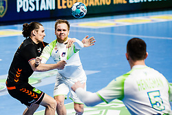 Stas Skube of Slovenia during Men's EHF EURO 2022 Qualifiers between national teams Slovenia and Netherlands in Arena Zlatorog, Celje, Slovenia on 10. January, 2021. Photo by Grega Valancic