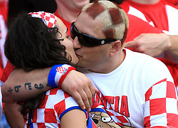Fans of Croatia kissing before the UEFA EURO 2008 Group B soccer match between Austria and Croatia at Ernst-Happel Stadium, on June 8,2008, in Vienna, Austria.  (Photo by Vid Ponikvar / Sportal Images)