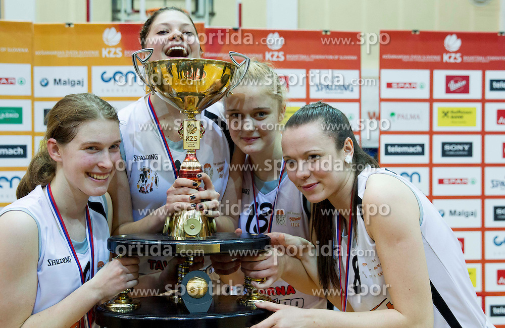 of Celje celebrate after winning the basketball match between ZKK Athlete Celje and ZKK Domzale in final of Slovenian Women Basketball Cup 2013, on March 3, 2013 in Celje, Slovenia.  Celje defeated Domzale 79-59 and became Slovenian Cup Champion 2013. (Photo By Vid Ponikvar / Sportida)