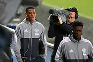 Anthony Martial of Manchester Utd (l) arrives at the stadium. EFL Carabao Cup 4th round match, Swansea city v Manchester Utd at the Liberty Stadium in Swansea, South Wales on Tuesday 24th October 2017.<br /> pic by  Andrew Orchard, Andrew Orchard sports photography.