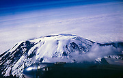 View from aeroplane flying over Mount Kilimanjaro, Africa 1960s or early 1970s