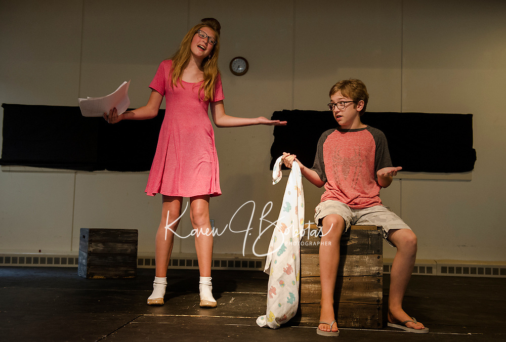 """Lily Tierno """"Sally"""" and Griffin Plourde """"Linus"""" at rehearsal for """"You're A Good Man, Charlie Brown"""" with the Streetcar Company's SKYT - Streetcar Kids and Youth Theater on Sunday evening at Gilford Methodist Church.  (Karen Bobotas/for the Laconia Daily Sun)"""