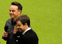 """©London News pictures. 10/03/11. Ant and Dec filming at Crufts 2011 today (Thurs). Anthony """"Ant"""" McPartlin, the television presenter, was punched in the face during an unprovoked fight while watching a football match in a London pub, it emerged on Wednesday. The 35 year-old, who with Declan """"Dec"""" Donnelly are collectively known as """"Ant and Dec"""", was attacked as he watched the Arsenal v Barcelona Champions League match on Tuesday. Picture Credit should read Stephen Simpson/LNP"""