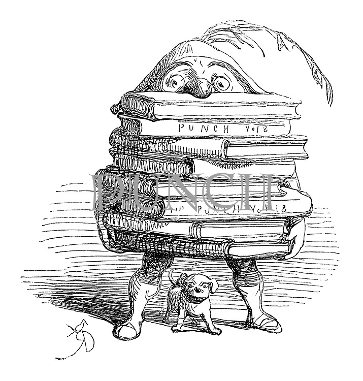 (Mr Punch carrying a stack of Punch volumes)