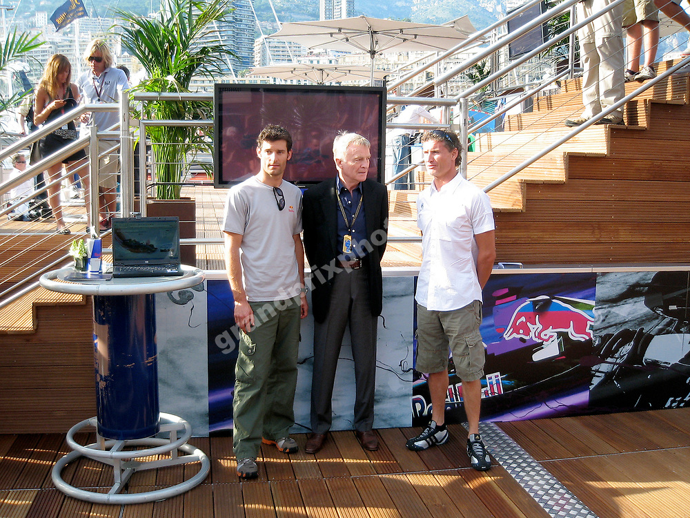 Red Bull-Renault drivers Mark Webber and David Coulthard with FIA president Max Mosley at the launch of Red Bull´s Wings for Life charity sponsorship scheme in the paddock before the 2007 Monaco Grand Prix. Photo: Grand Prix Photo