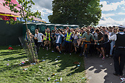 London, 12th August 2017: Revellers endured up to 4hr queues to enter the Sunfall festival in Brockwell Park, Herne Hill, south London. Many had travelled from across the country to see their favourite bands had paid upwards of £65 so were angry at the waiting time and lack of organisation.