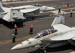 """170505-N-LK571-106 <br /> PACIFIC OCEAN (May 5, 2017) Two F/A-18F Super Hornet assigned to the """"Bounty Hunters"""" of Strike Fighter Squadron (VFA) 2 prepares to launch from the flight deck of the Nimitz-class aircraft carrier USS Carl Vinson (CVN 70) flight deck. The U.S. Navy has patrolled the Indo-Asia-Pacific routinely for more than 70 years promoting regional peace and security. (U.S. Navy photo by Mass Communication Specialist 3rd Class Matthew Granito/Released)170505-N-LK571-106 <br /> Join the conversation:<br /> http://www.navy.mil/viewGallery.asp<br /> http://www.facebook.com/USNavy<br /> http://www.twitter.com/USNavy<br /> http://navylive.dodlive.mil<br /> http://pinterest.com<br /> https://plus.google.com"""
