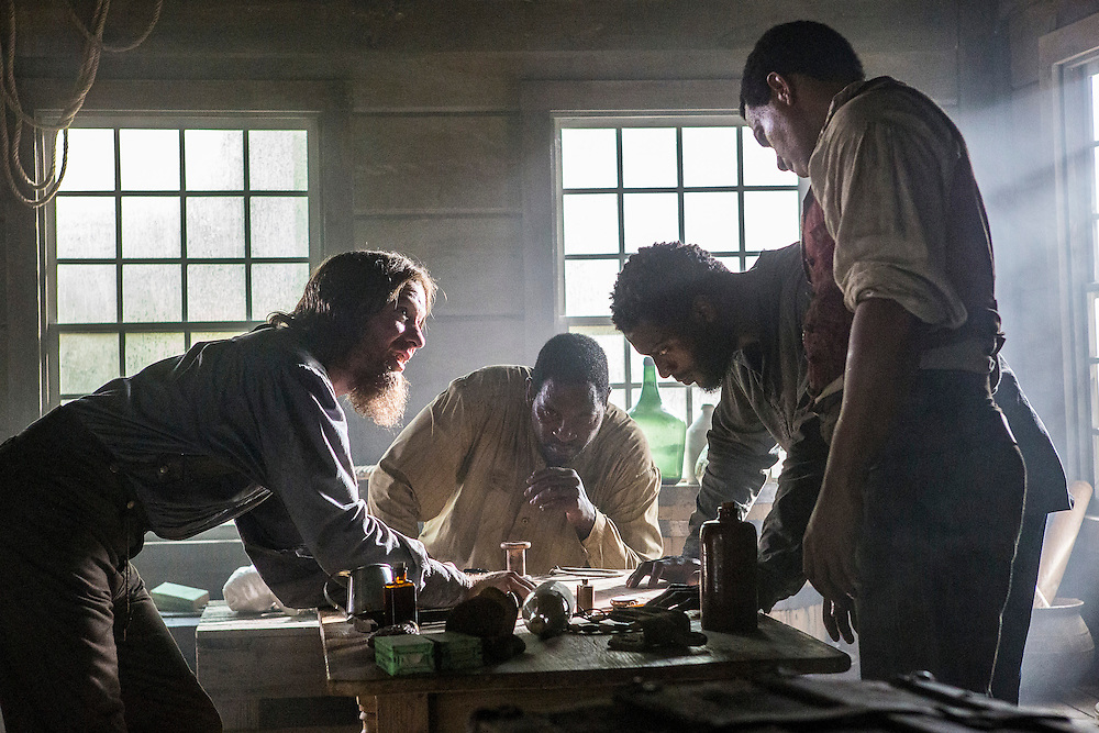 """Joseph Sikora as Frog Jack, Mykelti Williamson as Moses, Aldis Hodge as Noah and Alano Miller as Cato in WGN America's """"Underground."""""""