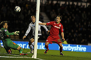 Cardiff city's Heidar Helguson scores the opening goal past Derby keeper Adam Legzdins. NPower championship, Derby county v Cardiff city at Pride Park in Derby on Tuesday 27th November 2012. pic by Andrew Orchard, Andrew Orchard sports photography,