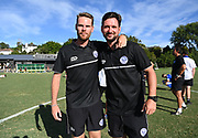 Coaches Kale Herbert and Joseph Hinds pose for a photo as they make the playoffs. ISPS Handa Men's Premiership football match between Eastern Suburbs AFC and Hamilton Wanderers at Madills Farm in Auckland. Sunday 21 February 2021. © Coyright image by Andrew Cornaga / www.photosport.nz