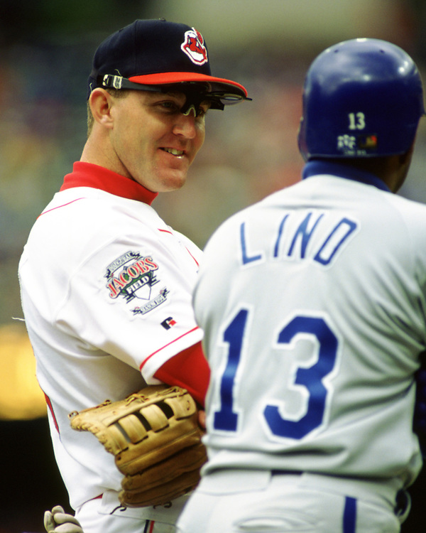 CLEVELAND - 1994:  Jim Thome of the Cleveland Indians looks on during an MLB game at Jacobs Field in Cleveland, Ohio during the 1994 season. (Photo by Ron Vesely) Subject:   Jim Thome