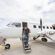 CAPTION: The team of doctors arrives at Tabatinga Airport, after a flight over dense Amazonian jungle that lasted almost three hours. LOCATION: Tabatinga International Airport, Tabatinga, Amazonas, Brazil. INDIVIDUAL(S) PHOTOGRAPHED: Dr Joaquim Neto.