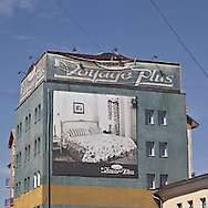 Mongolie. Ulanbaatar , building with advertisng