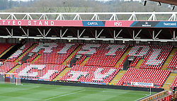 Thousand of red and white scarves adorn the seats at Ashton Gate - Photo mandatory by-line: Paul Knight/JMP - Mobile: 07966 386802 - 25/01/2015 - SPORT - Football - Bristol - Ashton Gate - Bristol City v West Ham United - FA Cup fourth round