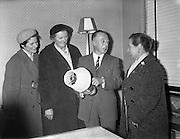 25/02/1961<br /> 02/25/1961<br /> 25 February 1961<br /> I.C.A. group from Carraroe, Co. Galway, on tour of Dublin visit the Gael Linn offices, Dublin.