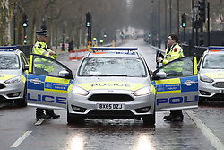 © Licensed to London News Pictures. 09/04/2018. London, UK. Police vehicles block Birdcage Walk after an abandoned van was found near Buckingham Palace. Major police activity was seen as a large cordon was put in place. A man was arrested nearby. Photo credit: Peter Macdiarmid/LNP