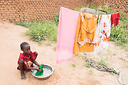 A girl does laundry at home in Mongo, Guera province, Chad on Wednesday October 17, 2012.