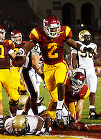 1 September 2007: Tailback #2 C.J. Gable in celebrated a touchdown during the USC Trojans college football team defeated the Idaho Vandals 38-10 at the Los Angeles Memorial Coliseum in CA.  NCAA Pac-10 #1 ranked team first game of the season.