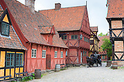 Horse and carriage at Den Gamle By, The Old Town, open-air folk museum at Aarhus,  East Jutland, Denmark