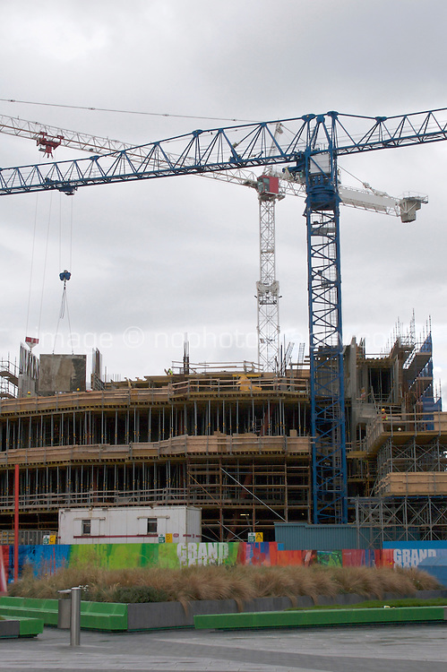 Construction work at Grand Canal Square in Dublin's docklands, Ireland