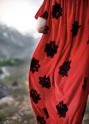 Detail of dress. In Khorog town, capital of the Pamir and home of the Ismaili community.<br /> <br /> Tajikistan and the Tajik Pamir mountains (province of Gorno Badakhshan), summer 2009.