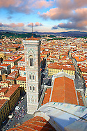 Campinale  of the the Gothic-Renaissance Duomo of Florence,  Basilica of Saint Mary of the Flower; Firenza ( Basilica di Santa Maria del Fiore ) from the top of the Dome.  Built between 1293 & 1436. Italy .<br /> <br /> Visit our ITALY PHOTO COLLECTION for more   photos of Italy to download or buy as prints https://funkystock.photoshelter.com/gallery-collection/2b-Pictures-Images-of-Italy-Photos-of-Italian-Historic-Landmark-Sites/C0000qxA2zGFjd_k<br /> .<br /> <br /> Visit our MEDIEVAL PHOTO COLLECTIONS for more   photos  to download or buy as prints https://funkystock.photoshelter.com/gallery-collection/Medieval-Middle-Ages-Historic-Places-Arcaeological-Sites-Pictures-Images-of/C0000B5ZA54_WD0s