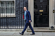 March 17, 2020, London, England, United Kingdom: Health Secretary Matt Hancock leaves Downing Street, London, on Tuesday, Mar 17, 2020 - the day after Prime Minister Boris Johnson called on people to stay away from pubs, clubs and theatres, work from home if possible and avoid all non-essential contacts and travel in order to reduce the impact of the coronavirus pandemic. (Credit Image: © Vedat Xhymshiti/ZUMA Wire)
