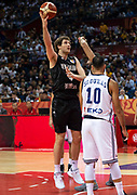 NANJING,CHINA:SEPTEMBER 5th 2019.FIBA World Cup Basketball 2019 Group phase match.Group F. New Zealand vs Greece.Center, Rob LOE. <br /> Photo by Jayne Russell / www.PhotoSport.nz