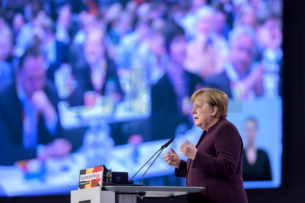 22 NOV 2019, LEIPZIG/GERMANY:<br /> Angela Merkel, CDU, Bundeskanzlerin, haelt eine Rede, CDU Bundesparteitag, CCL Leipzig<br /> IMAGE: 20191122-01-058<br /> KEYWORDS: Parteitag, party congress