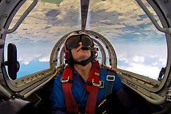 "Curt Arnspiger performs in ""Screaming Arrow,"" a Casa Saeta jet, at the Kokomo air show 2013.<br /> <br /> Photo by Matt Cashore"