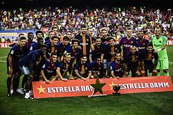 August 15, 2018 - Barcelona, Spain - FC Barcelona team with the Joan Gamper Trophy during the Joan Gamper trophy game between FC Barcelona and CA Boca Juniors in Camp Nou Stadium at Barcelona, on 15 of August of 2018, Spain. (Credit Image: © Xavier Bonilla/NurPhoto via ZUMA Press)