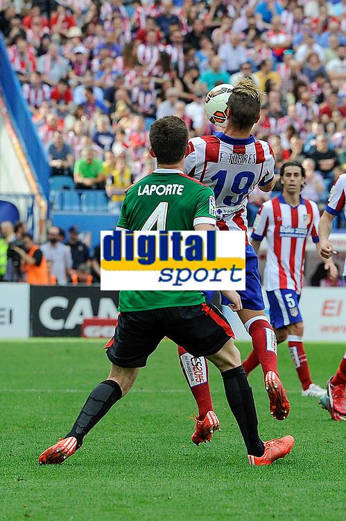 Atletico de Madrid´s Fernando Torres and Athletic Club´s Aymeric Laporte during 2014-15 La Liga match between Atletico de Madrid and Athletic Club at Vicente Calderon stadium in Madrid, Spain. May 02, 2015. (ALTERPHOTOS/Luis Fernandez)