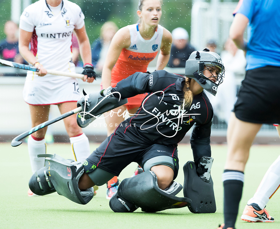 SCHIEDAM - Aisling D'HOOGHE (Bel)  tijdens een oefenwedstrijd tussen  de dames van Nederland en Belgie  (0-1), in aanloop naar het  EK Hockey, eind augustus in Amstelveen. COPYRIGHT  KOEN SUYK