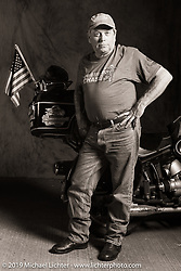 Greg Allen Portrait with his restored 1968 R-60 during the Cross Country Chase motorcycle endurance run from Sault Sainte Marie, MI to Key West, FL (for vintage bikes from 1930-1948). Photographed at the end of Stage 4 from Urbana, IL to Bowling Green, KY. USA. Monday, September 9, 2019. Photography ©2019 Michael Lichter.