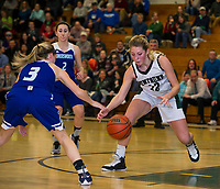 Somersworth's Jaiden Croteau and Newfound's Amanda Johnston go after a loose ball during NHIAA Division III basketball Thursday evening.  (Karen Bobotas/for the Laconia Daily Sun)