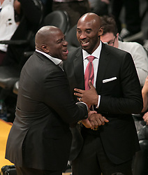 October 25, 2018 - Los Angeles, California, U.S - Former players of the Los Angeles Lakers (R) Kobe Bryant and Ervin ''Magic'' Johnson attend the NBA game with the Denver Nuggets on Thursday October 25, 2018 at the Staples Center in Los Angeles, California. Lakers defeat Nuggets, 121-114. (Credit Image: © Prensa Internacional via ZUMA Wire)