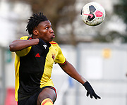 Joseph Hungbo of Watford during under-23 professional development league match between Watford and Charleton Athletic at Charleton Athletic Park Stadium, Monday, Feb. 3, 2020, in St. Albans, United Kingdom. (Mitchell Gunn-ESPA Images/Image of Sport)