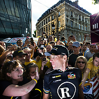 France, Paris, 25-07-2010.<br /> Cycling, Tour de France.<br /> Lance Armstrong between his fans after the finish of the Tour de France on the Champs Elysées in Paris. It was the last performance of the american cyclist in the Tour de France.<br /> Photo : Klaas Jan van der Weij
