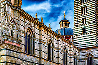 """""""Siena Cathedral magnificent architecture""""...<br /> <br /> The Duomo in Siena lies in a piazza above the Piazza del Campo, a great Gothic building filled with treasures by Pisano, Donatello, Bernini, and Michelangelo as well as frescoes by Pinturicchio. Originally completed in 1263, the 14th century inspired an ambitious attempt to transform the cathedral into the largest temple in all of Christendom, which would dwarf even St. Peter's in Rome. The already-large Duomo would form just the transept of this huge cathedral.  In 1348, the Black Death swept through the city and killed 4/5 of Siena's population. The giant cathedral was never completed, and the half-finished walls of the New Cathedral survive as a monument to Siena's ambition and one-time wealth.  The magnificent complex of the Cathedral of Siena houses a series of some of the most important monuments of the European artistic panorama. One will travel along a memorable itinerary to the discovery of self and the truth of faith through culture and art, the result of more than a millennium of Western history.  If I was asked to choose only one place that represented the great history of art, architecture, culture, and faith in all of Italy…one would be hard pressed to find a more complete portfolio than the Cathedral of Siena.  I found myself awe-inspired just walking up and facing the elegant façade, striped walls and pillars, and massive size.  Upon entering into the nave, one is overwhelmed with a plethora of artistic expression and great beauty placed in every available space.  From its dome, stained glass, frescos, sculptures, and to what is said to be the most magnificent marble floor in history…it is worth every minute."""