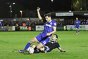 Connor Smith defender for AFC Wimbledon (18) in action during the Sky Bet League 2 match between AFC Wimbledon and Portsmouth at the Cherry Red Records Stadium, Kingston, England on 26 April 2016. Photo by Stuart Butcher.