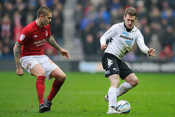 Derby Midfielder Craig Bryson (SCO) in action during the second half of the match - Photo mandatory by-line: Rogan Thomson/JMP - Tel: Mobile: 07966 386802 19/01/2013 - SPORT - FOOTBALL - Pride Park - Derby. Derby County v Nottingham Forest - npower Championship. The meeting of these two local sides is known as the East Midlands Derby with the winner claiming the Brian Clough Trophy.