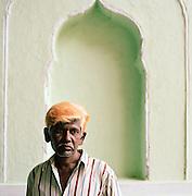 Portrait of caretaker at the Great Imambara, Lucknow, Uttar Pradesh, India