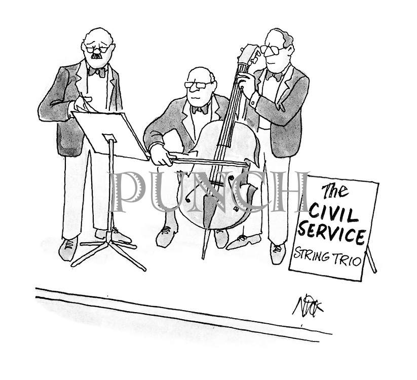 (Three Civil Service men on a stage playing as a string trio but with only one cello)
