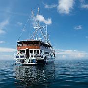 Sailing boat on the calm sea.