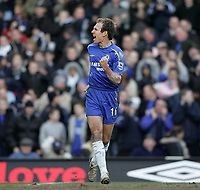 Photo: Lee Earle.<br /> Chelsea v Portsmouth. The Barclays Premiership. 25/02/2006. Chelsea's Arjen Robben celebrates scoring their second.